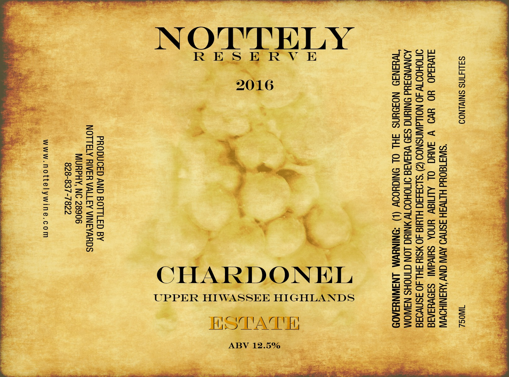 2016 CHARDONEL - Nottely River Valley Vineyards Release August 30, 2019